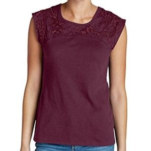 Daybreak Embroidered Tee, scarlet, 2xl